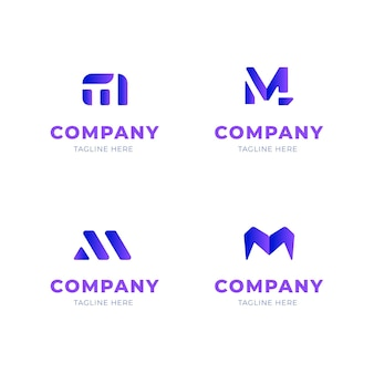 Collezione di design logo m.