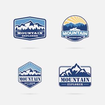 Collezione di design logo montagna d'epoca
