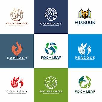 Collezione di design logo pavone, volpe, uccello.