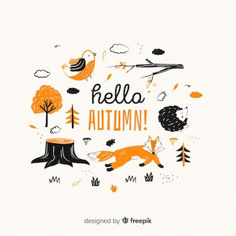 Collezione di design piatto di animali della foresta d'autunno