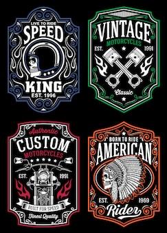 Collezione di design vintage per t-shirt da moto