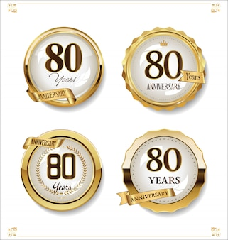 Collezione di design vintage retrò etichette d'oro anniversario