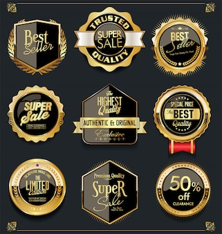 Collezione di design vintage retrò etichette oro e nero