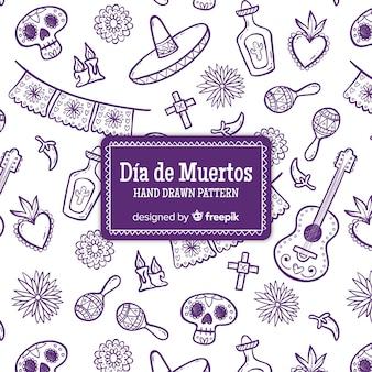 Collezione di día de muertos modello disegnato a mano colorata