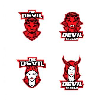 Collezione di diavolo rosso personaggio dei cartoni animati logo icona design cartoon