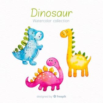 Collezione di dinosauri acquerello