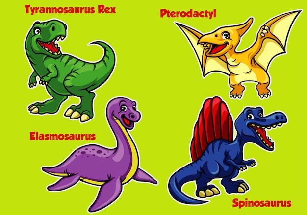 Collezione di dinosauri baby cartoon