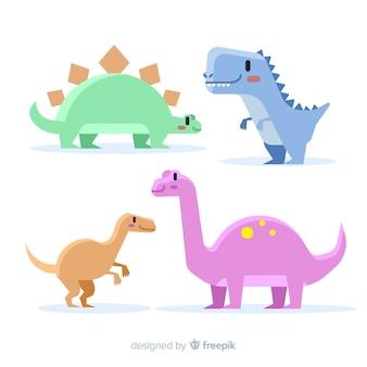 Collezione di dinosauri di colore pastello disegnato a mano