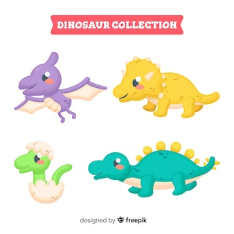Collezione di dinosauri disegnati a mano carino