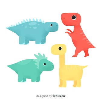Collezione di dinosauri disegnati a mano colorati