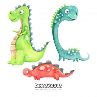 Collezione di dinosauri divertenti cartoon acquerello
