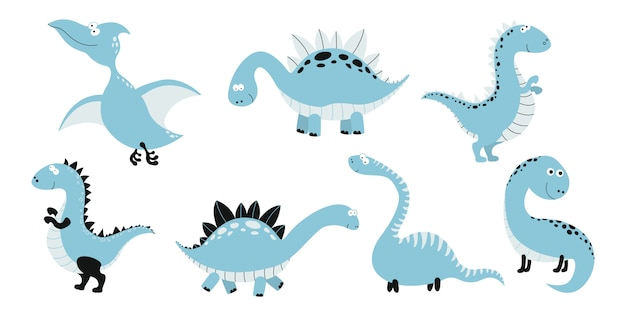 Collezione di dinosauri divertenti cartoon.