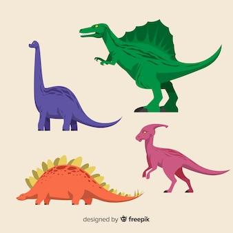 Collezione di dinosauri piatti