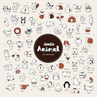 Collezione di disegnare a mano stile di doodle icona animale.