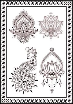 Collezione di disegni di pavoni floreali e tatuaggi all'henné. decorazione in stile etnico orientale india colore nero