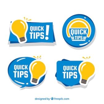 Collezione di distintivi colorati quick tips