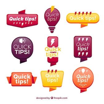 Collezione di distintivi colorati quick tips
