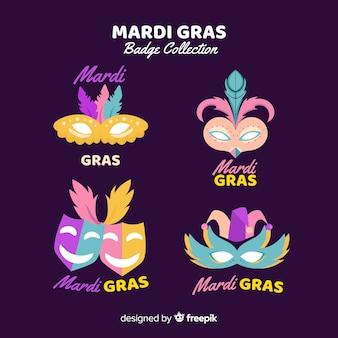 Collezione di distintivi del carnevale di mardi gras
