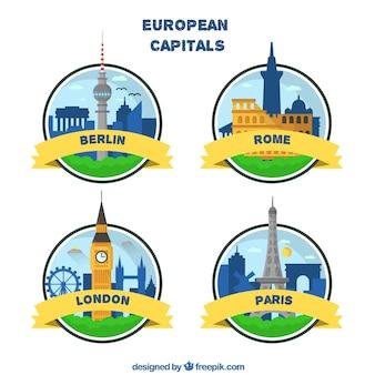 Collezione di distintivi delle capitali europee