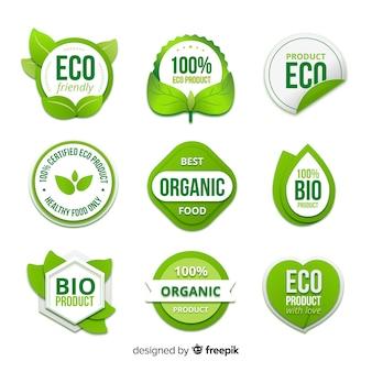 Collezione di distintivi di alimenti biologici