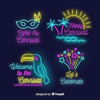 Collezione di distintivi di carnevale al neon