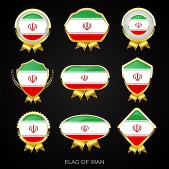 Collezione di distintivi di lusso bandiera dorata dell'iran