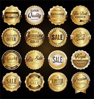 Collezione di distintivi ed etichette di qualità premium retrò vintage