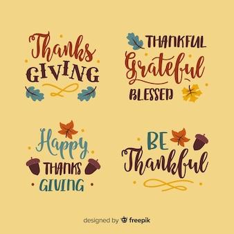 Collezione di distintivi lettering ringraziamento felice