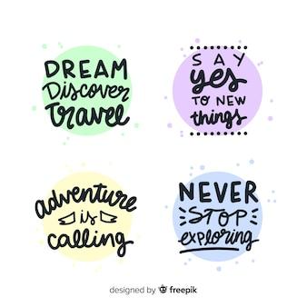 Collezione di distintivi lettering viaggio colorato