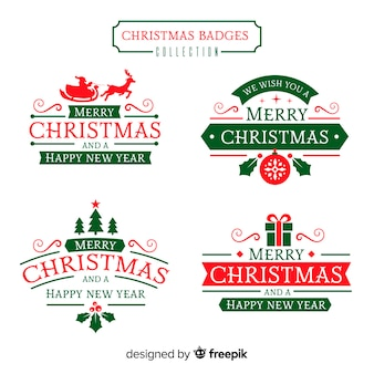 Collezione di distintivi Natale piatto