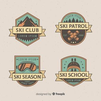Collezione di distintivi per sci d'epoca