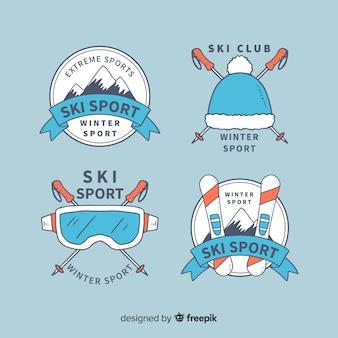 Collezione di distintivi sport sciistici