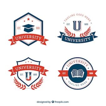 Collezione di distintivi universitari