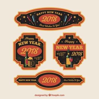 Collezione di distintivi vintage 2018 in arancione e marrone