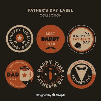 Collezione di distintivi vintage per la festa del papà