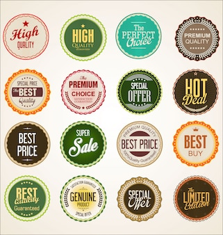 Collezione di distintivo colorato ed etichette design retrò