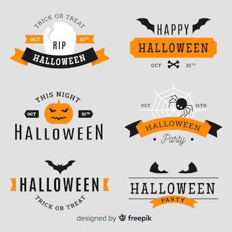 Collezione di distintivo colorato halloween con design piatto