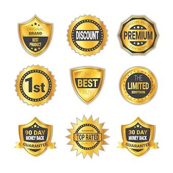 Collezione di distintivo d'oro shopping o alta qualità emblema raccolta isolato