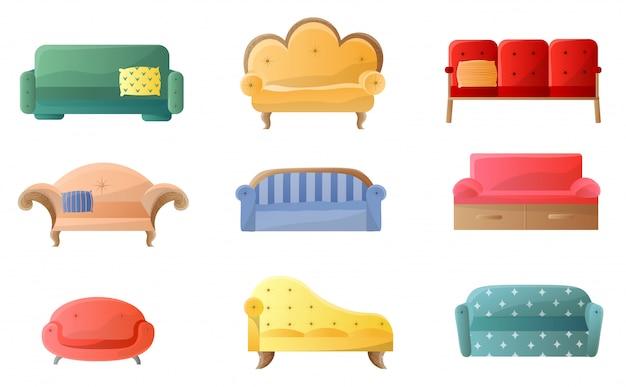 Collezione di divani alla moda e confortevoli su bianco