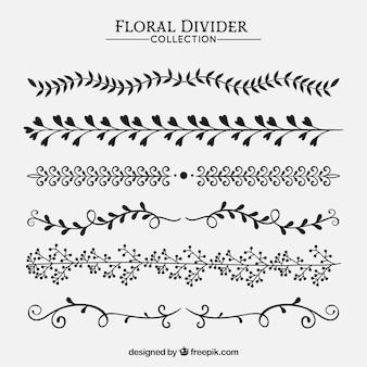 Collezione di divisori con ornamenti floreali