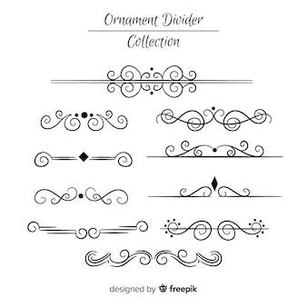 Collezione di divisori di ornamento disegnato a mano