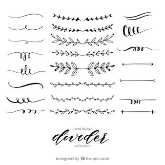 Collezione di divisori disegnata a mano stile