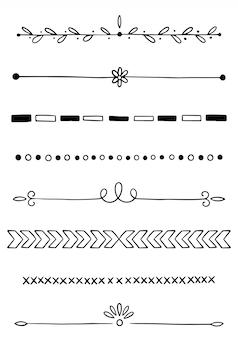 Collezione di divisori disegnati a mano