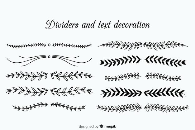 Collezione di divisori ornamentali disegnati a mano