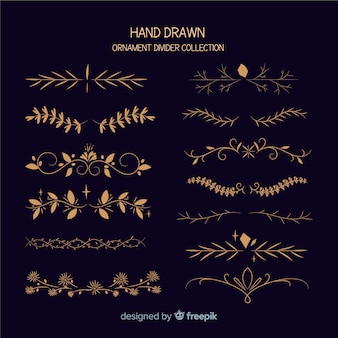 Collezione di divisori ornamento disegnata a mano