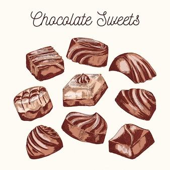 Collezione di dolci al cioccolato