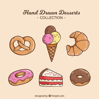 Collezione di dolci da dessert collezione disegnata in stile