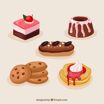 Collezione di dolci dessert disegnata in stile disegnato a mano