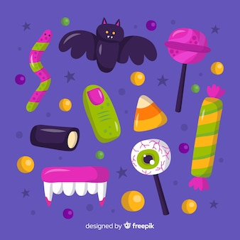 Collezione di dolci di halloween disegnati a mano