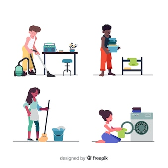 Collezione di donne che fanno i lavori domestici